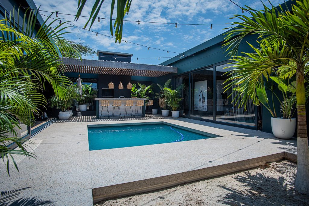 pool surrounds concrete floors
